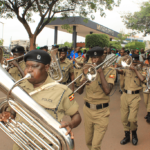 Police Band in action during the march