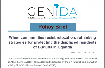 Navigating the question of protection for internally displaced persons (IDPs) require significant attention to their concerns in developing sustainable solutions. In certain instances, relocation may be resisted. Such resistance may be symptomatic of certain issues that need to be addressed. With a specific focus on the Bududa residents in the Mt. Elgon region of Uganda, this Policy Brief written by Onen David Ongwech examines the issue of resistance to relocation and advocates for rethinking protection strategies.